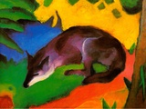Blue-Black Fox, 1911 Posters av Franz Marc
