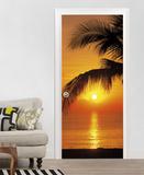 Palmy Beach Sunrise Door Wallpaper Mural Wandgemälde