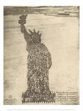 Human Statue of Liberty. 18,000 Officers and Men at Camp Dodge, Des Moines, Ia. Julisteet tekijänä Mole Thomas