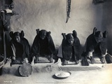 Four Young Hopi Indian Women Grinding Grain, 1906 Posters by Edward Curtis