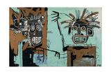 Untitled (Two Heads on Gold) 1982 Gicléedruk van Jean-Michel Basquiat