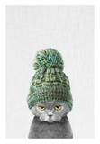 Kitten Wearing a Hat Poster van  Tai Prints