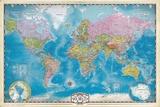Map of the World with Poles Plakat av Max Kendricks