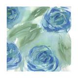 Blue Green Roses II Metalltrykk av Beverly Dyer