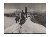 Jungfrau, Bernese Oberland, Switzerland. Climbers Rest and Observe the View from Summit of Jungfrau Fotografisk trykk av S. G. Wehrli