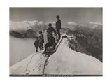 Jungfrau, Bernese Oberland, Switzerland. Climbers Rest and Observe the View from Summit of Jungfrau Photographic Print by S. G. Wehrli