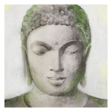 Peaceful Buddha Green Print by Unknown Unknown