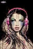 Loui Jover - DJ Girl Kunstdrucke von Loui Jover