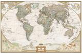 Politisk verdenskart, gammel stil Veggmaleri av  National Geographic Maps