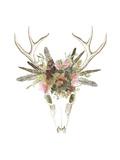 Deer Skull & Flowers I Poster by Naomi McCavitt