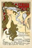 """French Art Nouveau Poster """"Salon des Cent 20th Exhibition"""" by Alphonse Mucha, 1896 Kunstdrucke von  Piddix"""