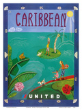Caribbean - United Air Lines Kunstdrucke von Melisande Potter
