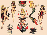 Mermaids and Dancers, Authentic Mid-Century Tattoo Flash by Norman Collins, aka, Sailor Jerry Art by  Piddix