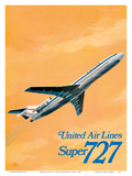 Boeing Super 727 Jet Airplane - United Airlines Poster by C Bail