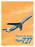 Boeing Super 727 Jet Airplane - United Airlines Posters tekijänä C Bail