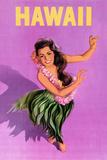 Hawaiian Hula Girl Vintage Travel Poster Láminas por  Piddix