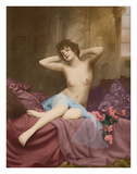 Classic Vintage French Nude - Hand-Colored Tinted Art Giclee Print by  NPG - Neue Photographische Gesellschaft