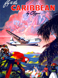 """Fly to the Caribbean by Clipper"" Vintage Travel Poster Art by  Piddix"