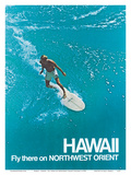 Hawaii - Surfer - Fly there on Northwest Orient Airlines Affiches par  Pacifica Island Art