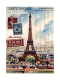 Eiffel Tower, French Vintage Postcard Collage Arte di  Piddix