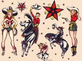 Cowboys & Cowgirls, Authentic Rodeo Tatooo Flash by Norman Collins, aka, Sailor Jerry Kunstdruck von  Piddix