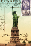 Statue of Liberty, New York Vintage Postcard Collage 高品質プリント :  Piddix