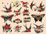 Hearts and Sparrows, Authentic Vintage Tatooo Flash by Norman Collins, aka, Sailor Jerry Pôsters por  Piddix
