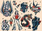 Vintage Sailor Tattoo Flash by Norman Collins, aka, Sailor Jerry Poster von  Piddix