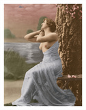 Classic Vintage French Nude - Hand-Colored Tinted Art Giclee Print by  Pacifica Island Art