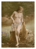 Classic Vintage French Nude - Hand-Colored Tinted Art Poster van  NPG Studio