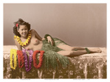 Young Topless Hawaiian Girl - Classic Vintage Hand-Colored Tinted Art Poster by  Pacifica Island Art