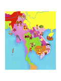 Illustrated Map of Southeast Asia Art by Chris Corr