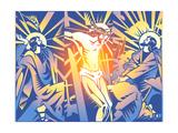 Praying, Carrying Cross and Crucifixion of Jesus Christ Premium gicléedruk van David Chestnutt