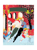 Family Ice Skating Together Kunst af David Chestnutt