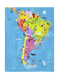 Illustrated Map of Central and South America Premium Giclee-trykk av Chris Corr