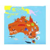 Illustrated Map of Australia Posters van Chris Corr