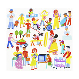Lots of People Working, Walking and Playing in a Community Poster af Chris Corr