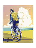 Rear View of Man Cycling Poster von David Chestnutt