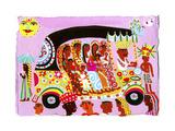 Women and Children Traveling in Ornate Auto Rickshaw Láminas por Chris Corr