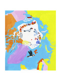 Illustrated Map of the North Pole Premium Giclee-trykk av Chris Corr