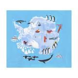 Illustrated Map of Antarctica Poster von Chris Corr