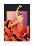 Flamenco Dancer in Red Polka Dot Dress Playing Castanets Stampe di David Chestnutt