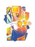 Business People in Office Plakater af David Chestnutt