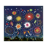 Multicolored Fireworks in Night Sky Above Houses Poster by Lee Hodges