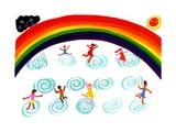 Children Playing under Rainbow Kunstdrucke von Chris Corr