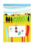 Red Wine on Table in Italian Vineyard Kunst von Chris Corr