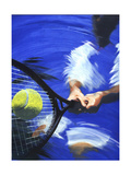 Tennis Player Hitting Tennis Ball Poster di Barry Patterson