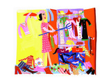 Woman Clearing Out Clothes from Messy Closet Stampe di Chris Corr