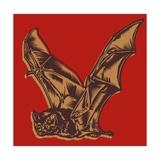 Flying Bat on Red Kunst af Matthew Laznicka