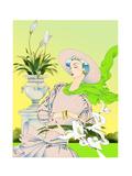 Glamorous Woman Carrying Flowers in Garden Poster di David Chestnutt